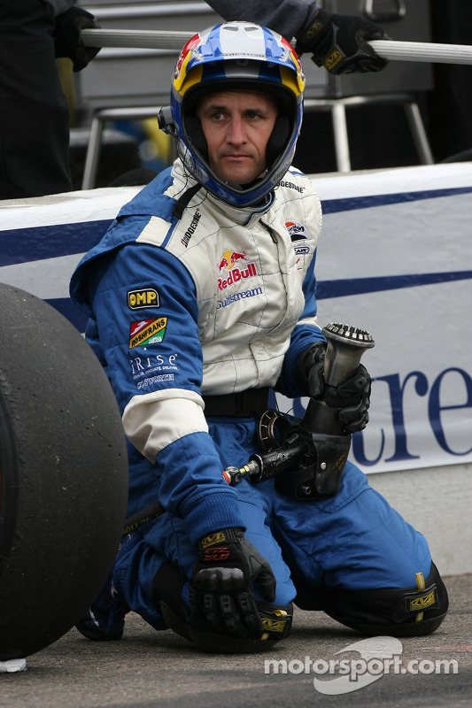 PKV Racing crew member ready for a pitstop practice
