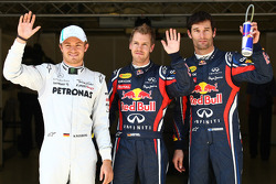 Pole winner Sebastian Vettel, Red Bull Racing, second place Mark Webber, Red Bull Racing, third place Nico Rosberg, Mercedes GP F1 Team