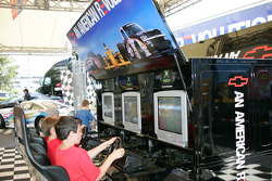 Young fans enjoy playing racing simulators
