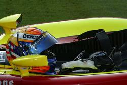 Scott Sharp's helmet sits ready