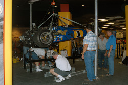 Al Unser, Jr. watches as Johnny Lightning Special gradually rises via winch
