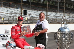 Sam Hornish Jr. is delivered the local paper that chronicles his victory