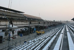 The stands sit empty on race morning