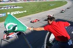 The green flag is waved to start the Peak Antifreeze Indy 300 presented by Mr. Clean