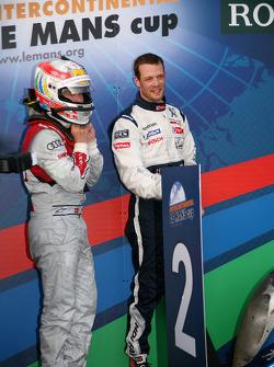 Race winner Alexander Wurz with Tom Kristensen