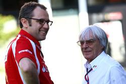 Stefano Domenicali, Scuderia Ferrari Sporting Director and Bernie Ecclestone,