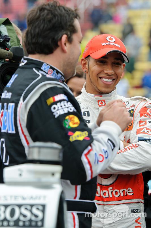 Tony Stewart and Lewis Hamilton