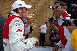 Second place Timo Scheider, Audi Sport Team Abt celebrates with Hans-Jürgen Abt