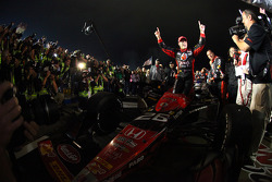 Victory lane: race winner Marco Andretti celebrates