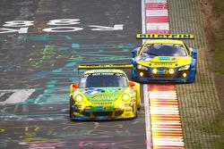 #18 Manthey Racing, Porsche 911 GT3 RSR: Marc Lieb, Lucas Luhr, Romain Dumas, Timo Bernhard; #14 Aud