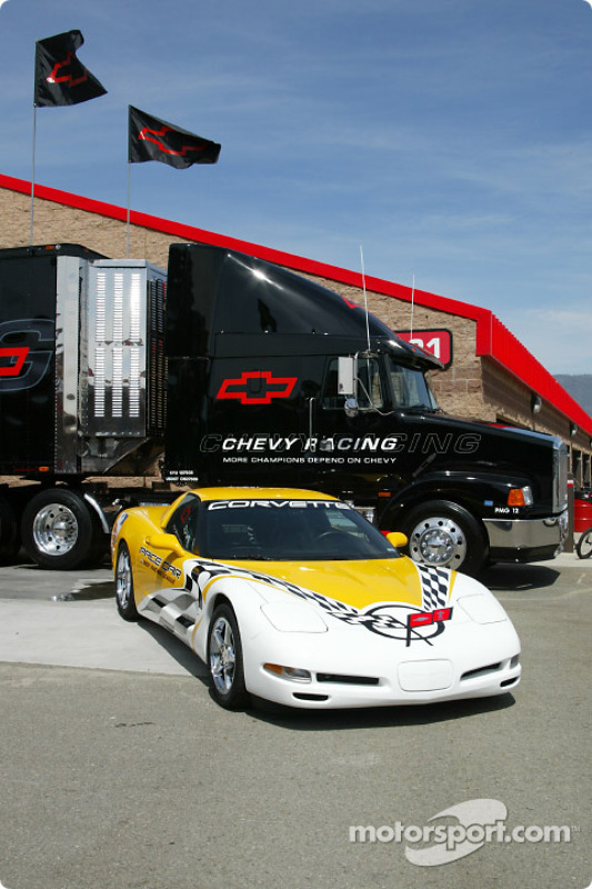 Chevrolet Corvette pace cars in front of the Chevrolet transporter