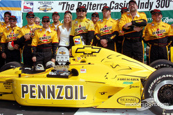 Race winner Sam Hornish Jr. celebrates with Panther Racing team