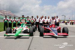 Front row for the Argent Mortgage Indy 300: pole winner Buddy Rice with Tony Kanaan and their teams