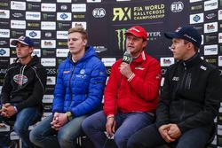 Niclas Grönholm, Olsbergs MSE; Johan Kristoffersson, Volkswagen Team Sweden; Gigi Galli, Kia; Mattias Ekström, EKS RX