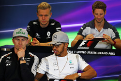 The FIA Press Conference (from back row (L to R)): Kevin Magnussen, Renault Sport F1 Team; Romain Grosjean, Haas F1 Team; Nico Hulkenberg, Sahara Force India F1; Lewis Hamilton, Mercedes AMG F1