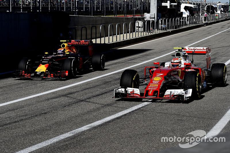 Kimi Raikkonen, Ferrari SF16-H, Max Verstappen, Red Bull Racing RB12