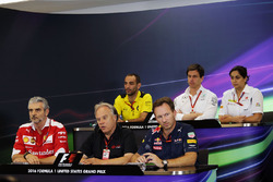 The FIA Press Conference (from back row (L to R)): Cyril Abiteboul, Renault Sport F1 Managing Director; Toto Wolff, Mercedes AMG F1 Shareholder and Executive Director; Monisha Kaltenborn, Sauber Team Principal; Maurizio Arrivabene, Ferrari Team Principal;