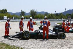 Lewis Hamilton, Mercedes AMG F1 W07 Hybrid and Nico Rosberg, Mercedes AMG F1 W07 Hybrid in the gravel after colliding