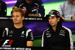 (L to R): Nico Rosberg, Mercedes AMG F1 and Sergio Perez, Sahara Force India F1 in the FIA Press Conference