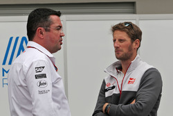 (L to R): Eric Boullier, McLaren Racing Director with Romain Grosjean, Haas F1 Team