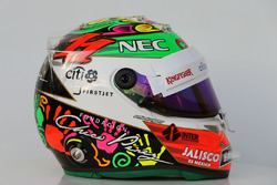 Le casque de Sergio Perez, Sahara Force India F1