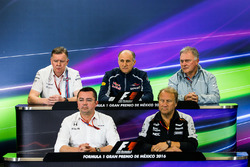 The FIA Press Conference (from back row (L to R): Mike O'Driscoll, Williams Group CEO; Franz Tost, Scuderia Toro Rosso Team Principal; Dave Ryan, Manor Racing Racing Director; Eric Boullier, McLaren Racing Director; Robert Fernley, Sahara Force India F1 Te