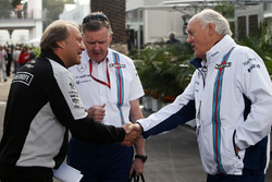 (L to R): Robert Fernley, Sahara Force India F1 Team Deputy Team Principal with Mike O'Driscoll, Williams Group CEO and Edward Charlton, Williams Non-Executive Director