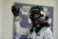 Nico Rosberg, Mercedes AMG F1 celebrates his second position in qualifying parc ferme