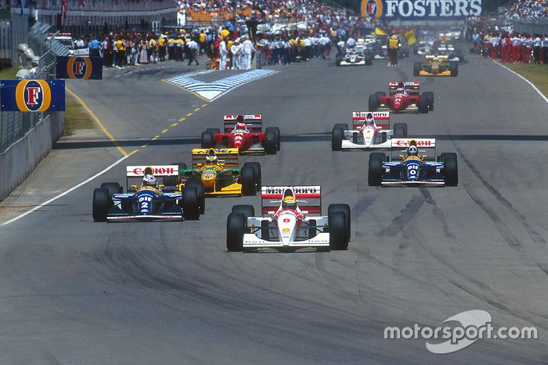 Start: Senna führt vor Weltmeister Alain Prost und Michael Schumacher