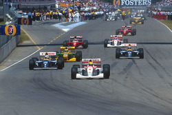Ayrton Senna, McLaren vor Alain Prost, Williams; Michael Schumacher, Benetton; Damon Hill, Williams; Gerhard Berger, Ferrari; Mika Hakkinen McLaren and Jean Alesi, Ferrari