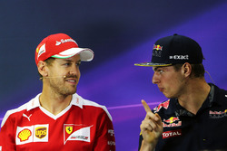 (L to R): Sebastian Vettel, Ferrari with Max Verstappen, Red Bull Racing in the FIA Press Conference