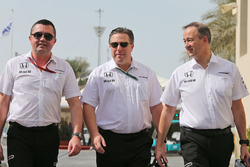 Eric Boullier, McLaren Racing Director with Zak Brown, McLaren Executive Director and Jonathan Neale, McLaren Chief Operating Officer