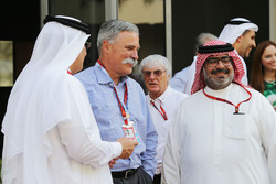 Sheikh Mohammed bin Essa Al Khalifa, CEO of the Bahrain Economic Development Board and McLaren Shareholder with Chase Carey, Formula One Group Chairman and Muhammed Al Khalifa, Bahrain Circuit Chairman