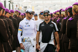 Jenson Button, McLaren with Sergio Perez, Sahara Force India F1 on the drivers parade