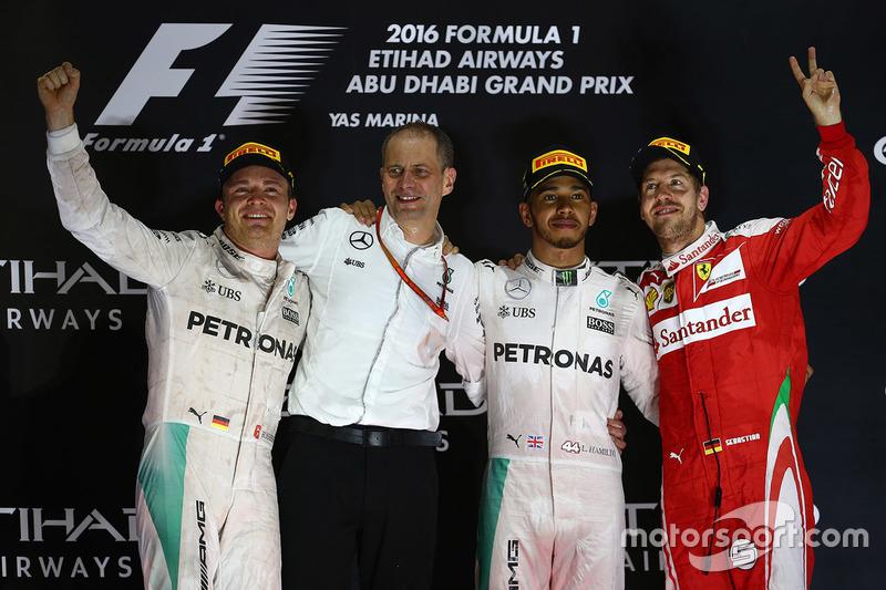 1. Lewis Hamilton, 2. Nico Rosberg, 3. Sebastian Vettel