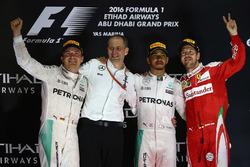 Race winner Lewis Hamilton, Mercedes AMG F1, second place Nico Rosberg, Mercedes AMG F1 , third place  Sebastian Vettel, Ferrari