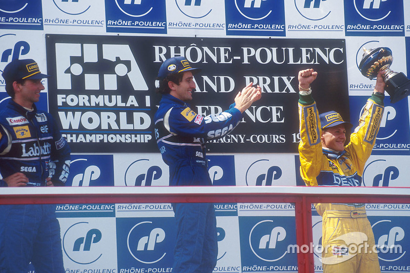 Podium: winner Alain Prost, Williams, second place Damon Hill, Williams, third place Michael Schumacher, Benetton