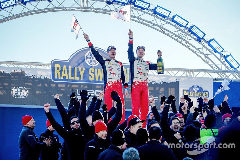 Ganadores del Rally de Suecia 2017 Jari-Matti Latvala, Miikka Anttila, Toyota Yaris WRC, Toyota Racing