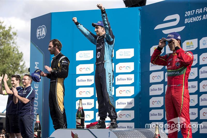 Podio: Ganador Sébastien Buemi, Renault e.Dams; segundo clasificado Jean-Eric Vergne, Techeetah; tercero clasificado Lucas di Grassi, ABT Schaeffler Audi Sport