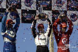 The podium: race winner Cristiano da Matta with Alex Tagliani and Bruno Junqueira