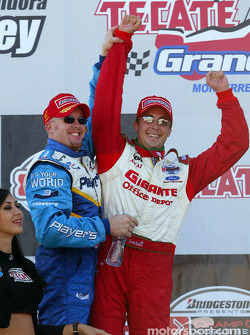 The podium: race winner Paul Tracy and Michel Jourdain Jr.