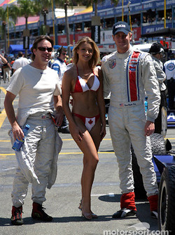 Jimmy Vasser and Ryan Hunter-Reay with the charming Miss Molson Indy girl