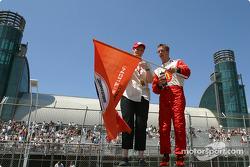 Pole winner Sébastien Bourdais celebrate