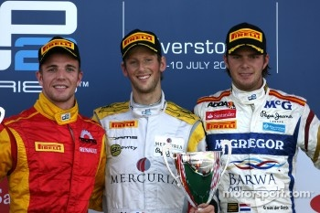 Podium: race winner Romain Grosjean, Dams, second place Dani Clos, Racing Engineering, third place Giedo van der Garde, Brawa Addax Team