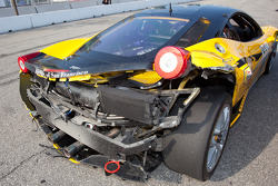 Damaged car of #009 Ferrari of San Francisco Ferrari 458 Challenge: Kevin Marshall
