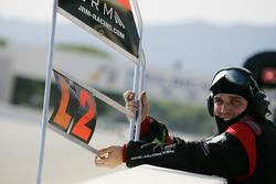 Pit board for #23 JR Motorsport Nissan GT-R: Michael Krumm, Lucas Luhr