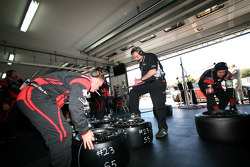 #23 JR Motorsport Nissan GT-R garage area