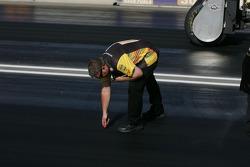 Crews take track readings before each run