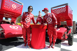 Dario Franchitti, Target Chip Ganassi Racing and Scott Dixon, Target Chip Ganassi Racing with Bullseye, the Target dog