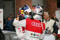 Race winner Martin Tomczyk, Audi Sport Team Phoenix, Audi A4 DTM with second place Mattias Ekström, Audi Sport Team Abt Sportsline, Audi A4 DTM